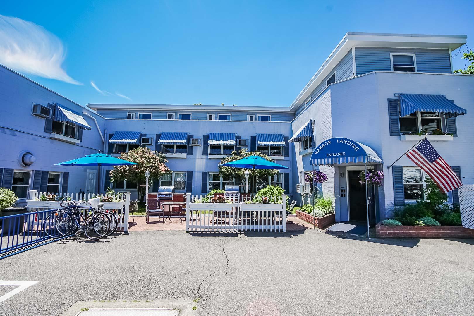 A vibrant resort entrance at VRI's Harbor Landing Resort in Massachusetts.