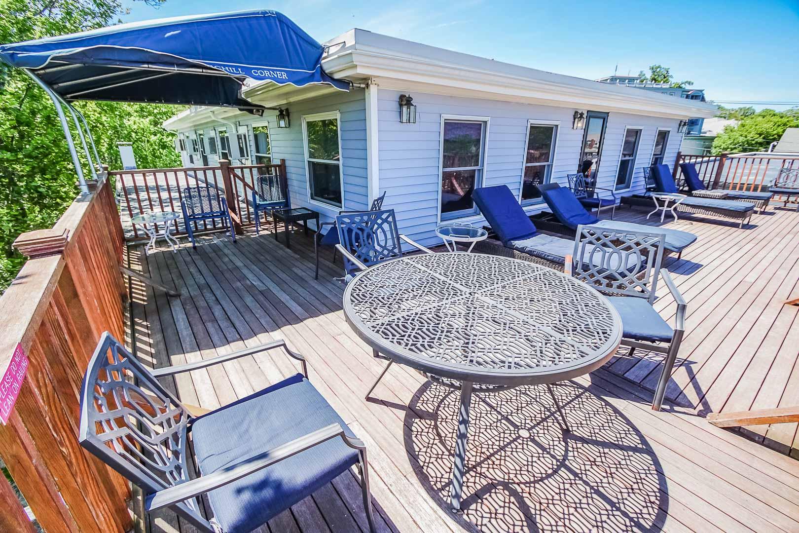 A relaxing patio deck at VRI's Harbor Landing Resort in Massachusetts.