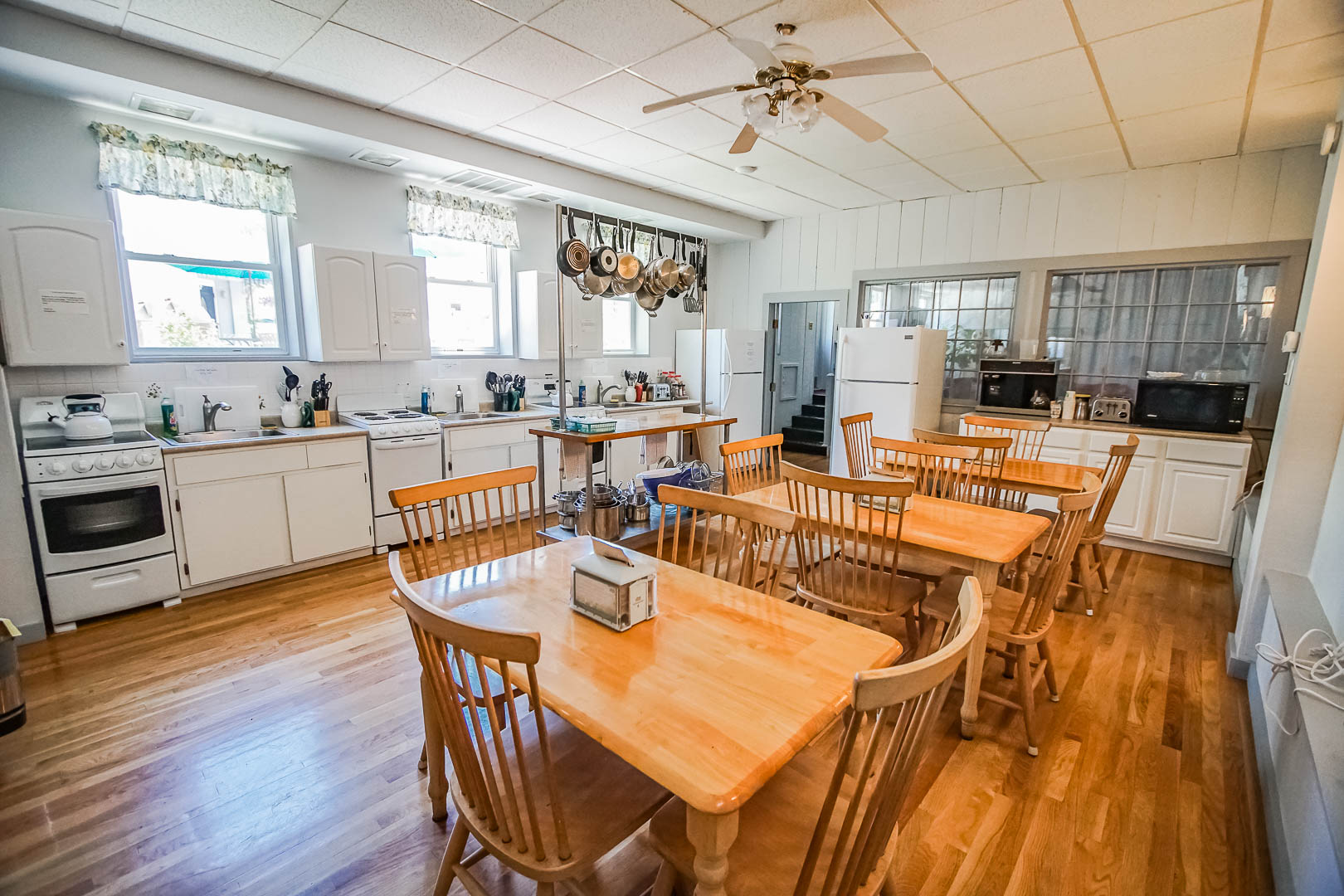 A welcoming communal kitchen at VRI's Harbor Landing Resort in Massachusetts.