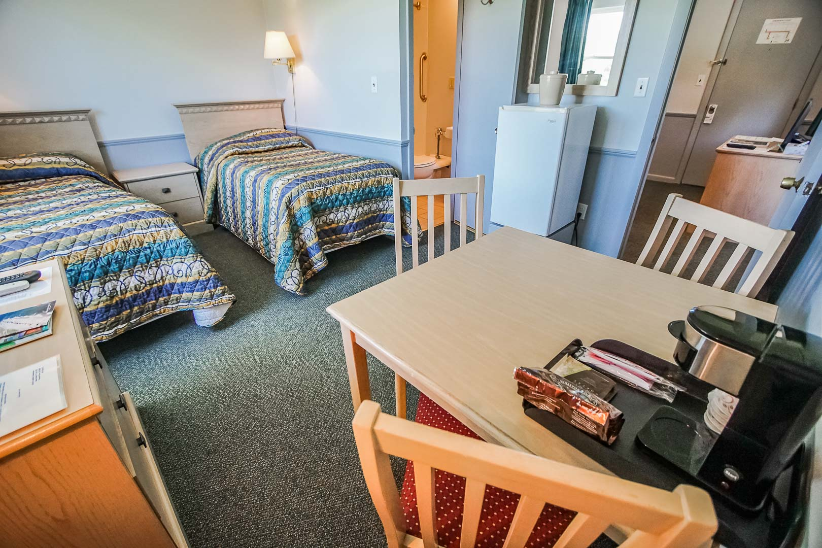 A cozy studio unit at VRI's Harbor Landing Resort in Massachusetts.