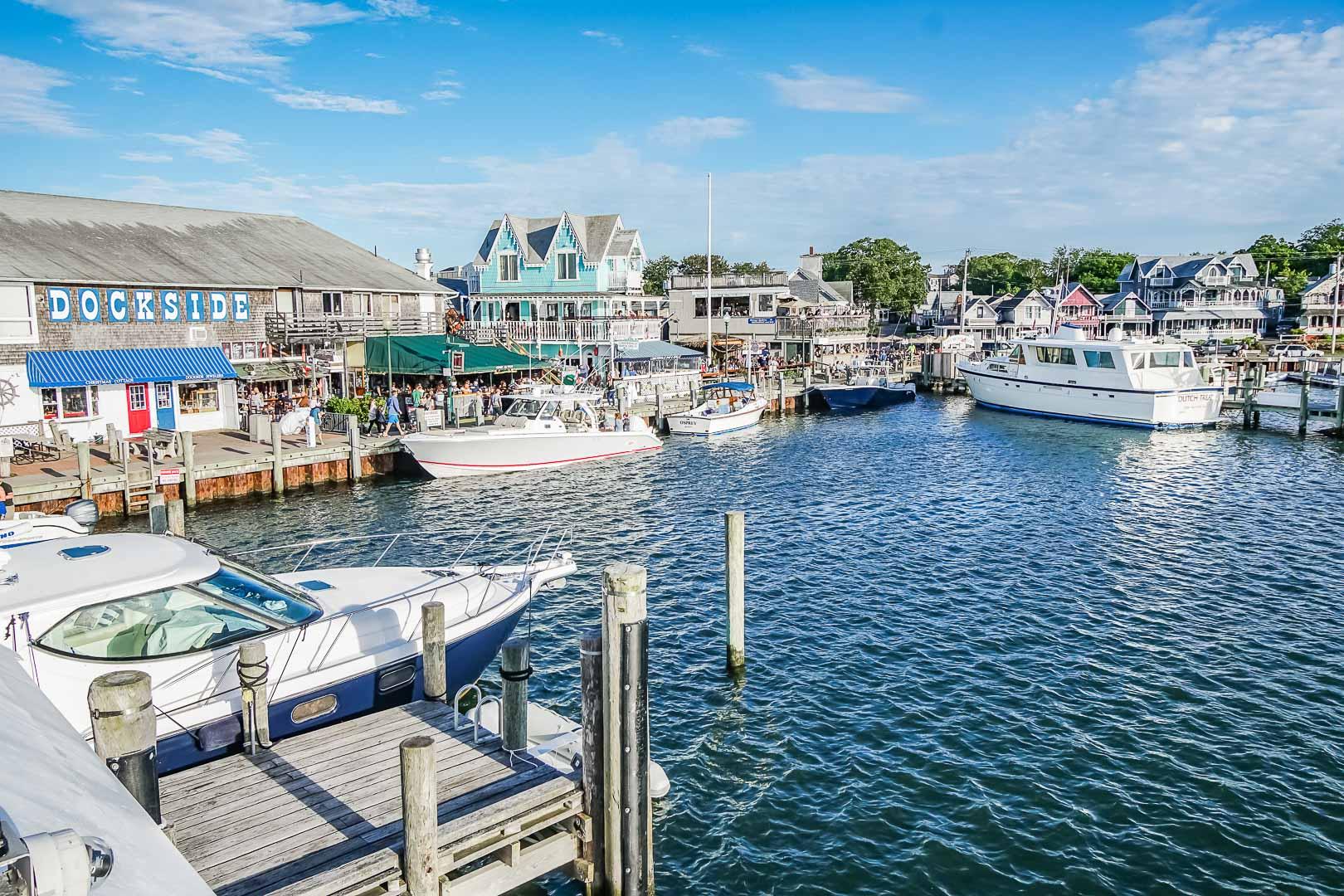 Scenic attractions with boat docks at VRI's Harbor Landing Resort in Massachusetts.