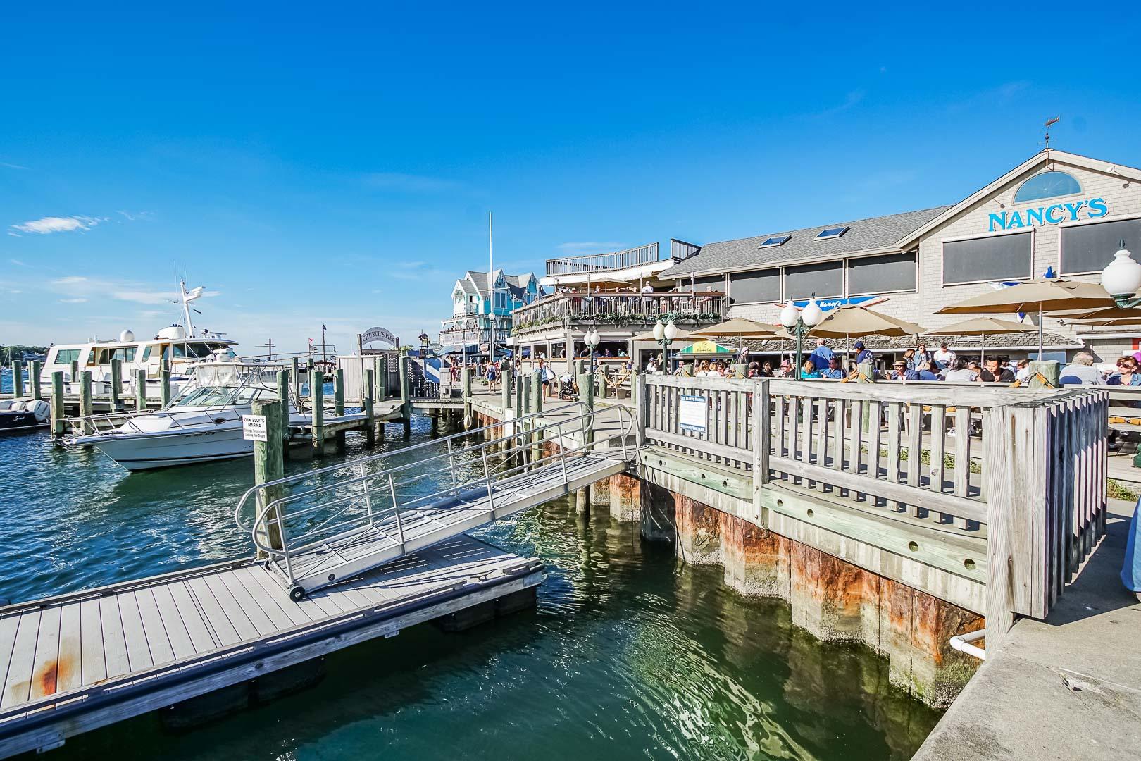 Beautiful boat docks near VRI's Harbor Landing Resort in Massachusetts.