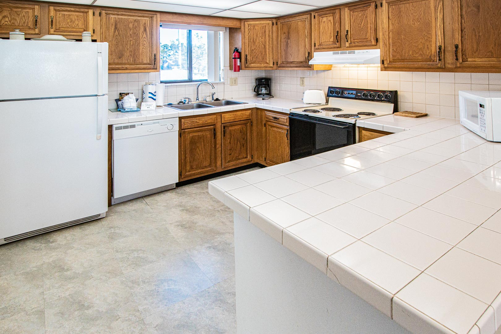 A spacious fully equipped kitchen at VRI's Harbourside II in New Bern, North Carolina.