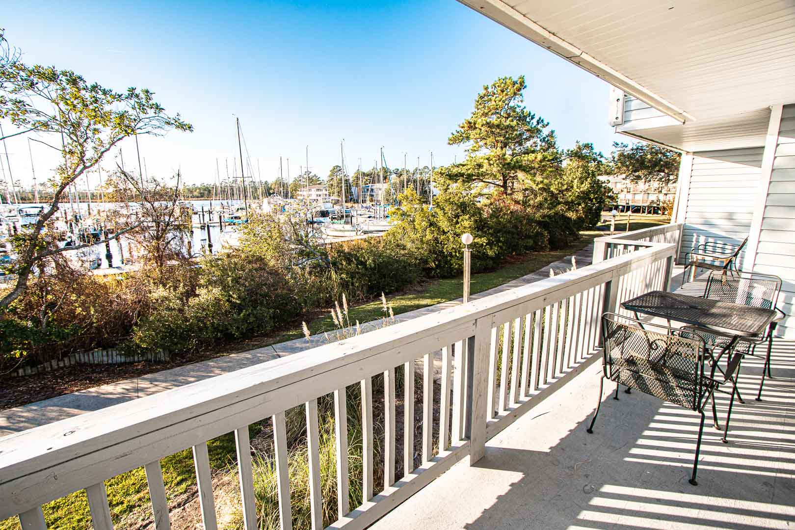 A scenic view from the balcony at VRI's Harbourside II in New Bern, North Carolina.