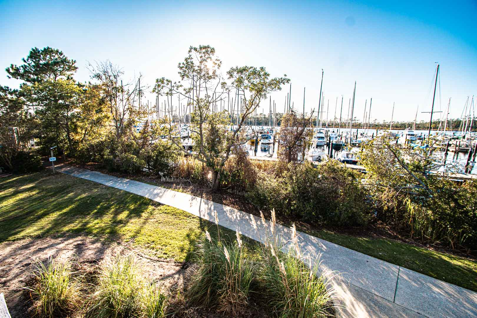 A beautiful view to the lake from VRI's Harbourside II in New Bern, North Carolina.
