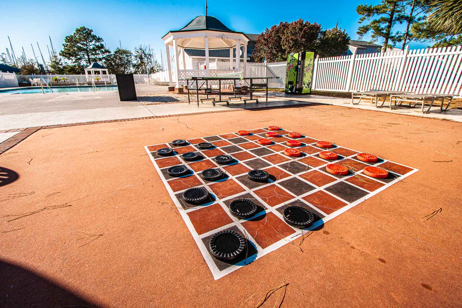 A jumbo outdoor checkers board at VRI's Harbourside II in New Bern, North Carolina.