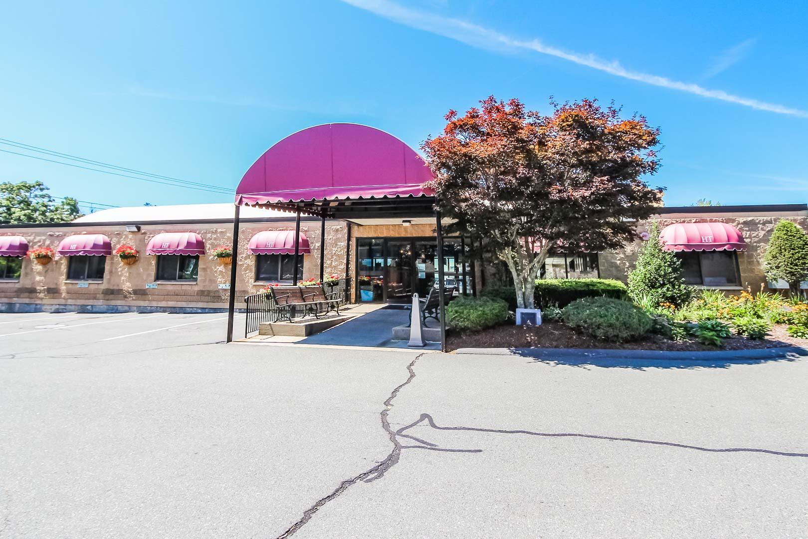 The inviting resort entrance at VRI's Holly Tree Resort in Massachusetts.