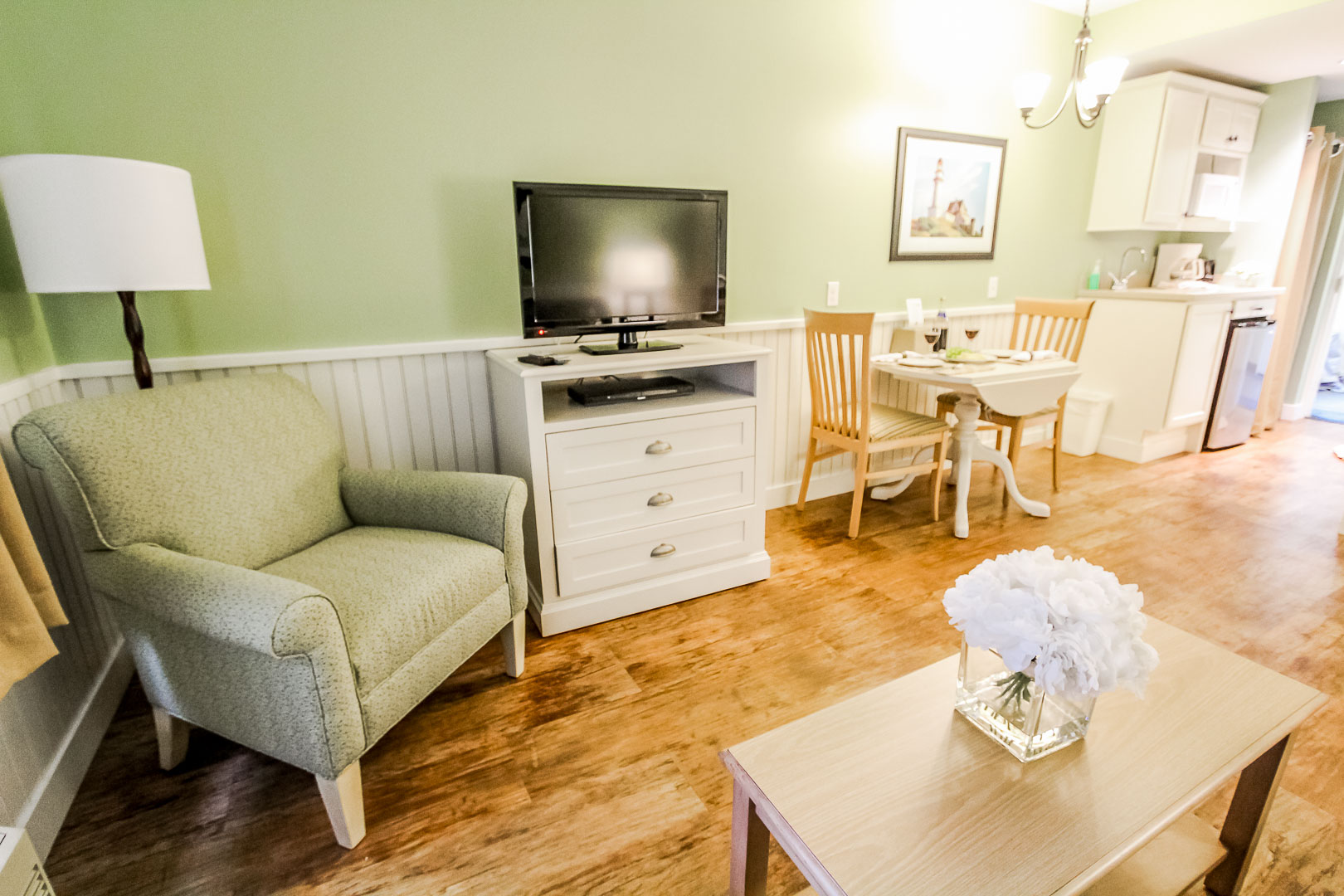 A cozy studio unit with Kitchenette at VRI's Holly Tree Resort in Massachusetts.