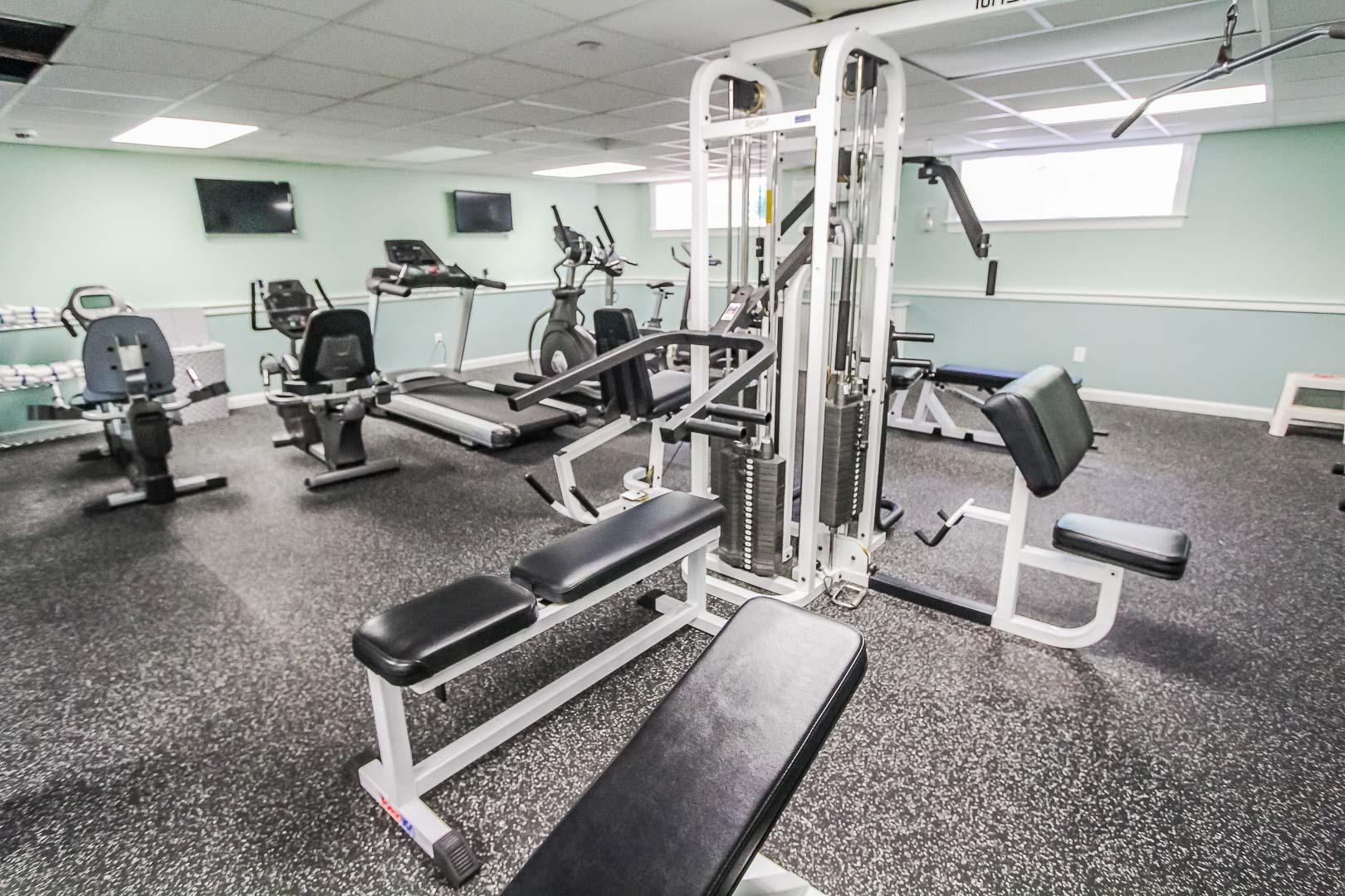 An expansive fitness center at VRI's Holly Tree Resort in Massachusetts.