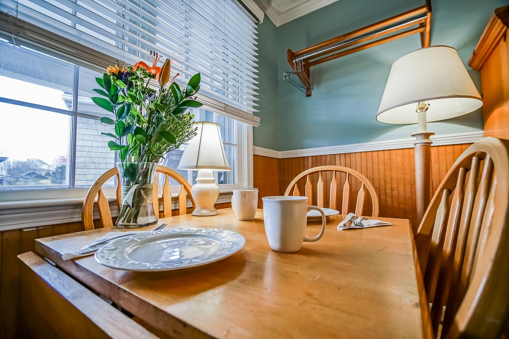A beautiful dining area at VRI's Island Manor Resort in Rhode Island.