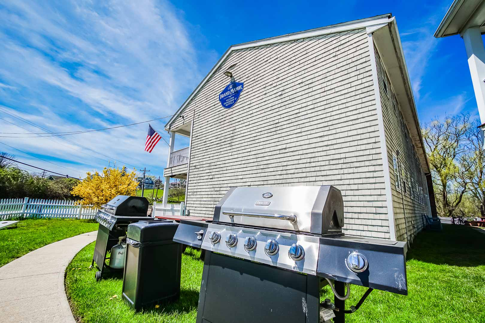 Convenient BBQ grills available at VRI's Island Manor Resort in Rhode Island.