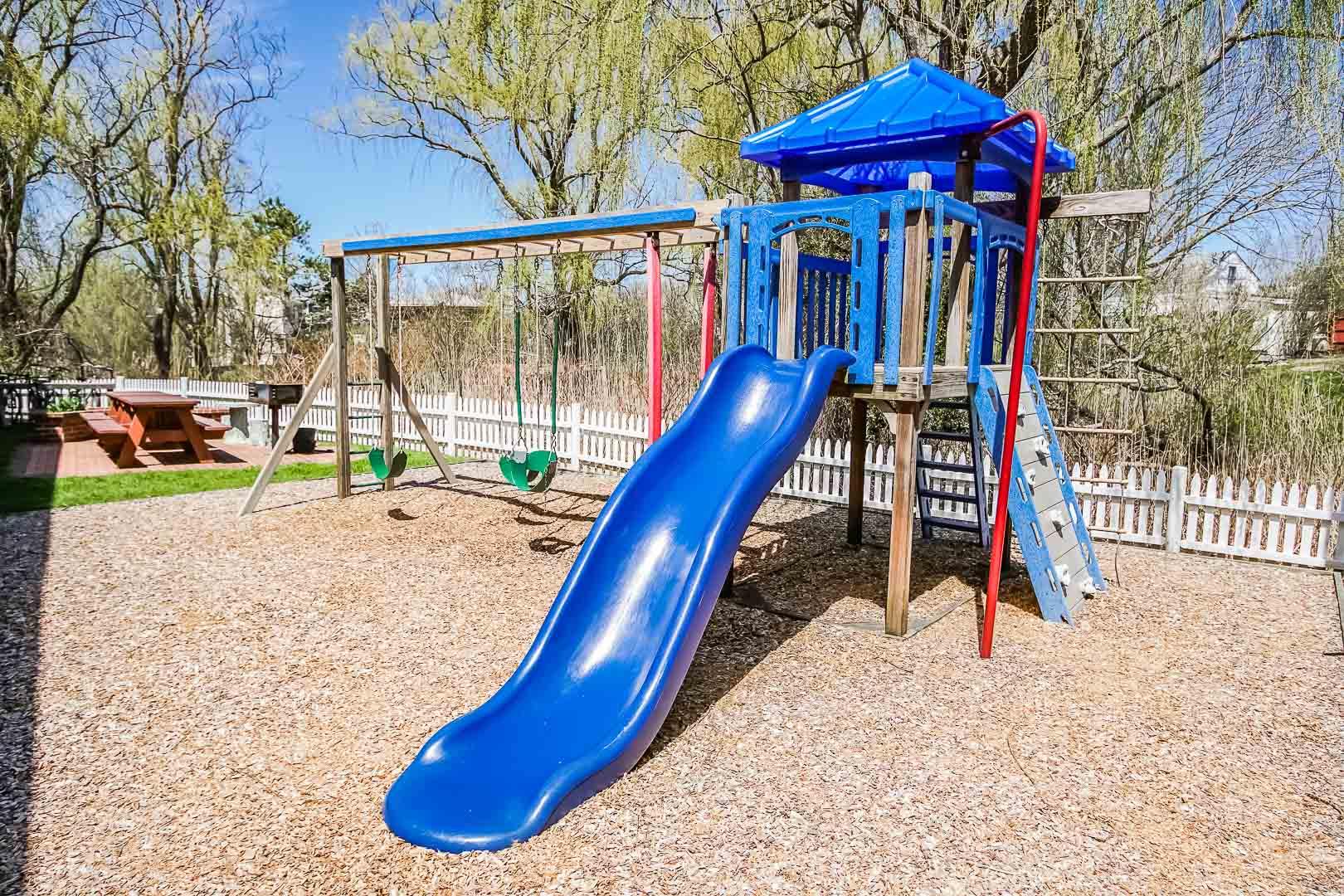 A colorful children's playground at VRI's Island Manor Resort in Rhode Island.