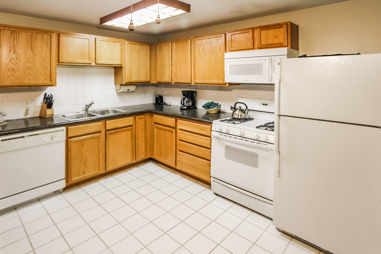 A fully equipped kitchen at VRI's Jackson Pines in Wyoming.