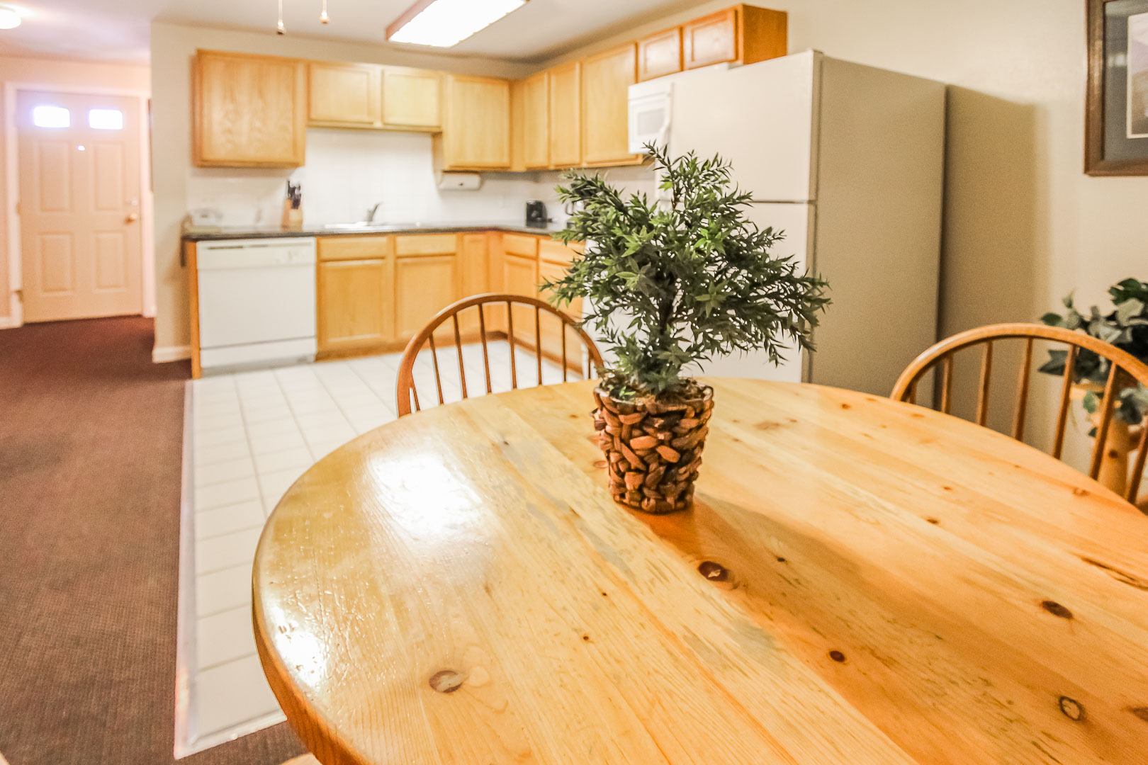 The dining area and kitchen at VRI's Jackson Pines in Wyoming.
