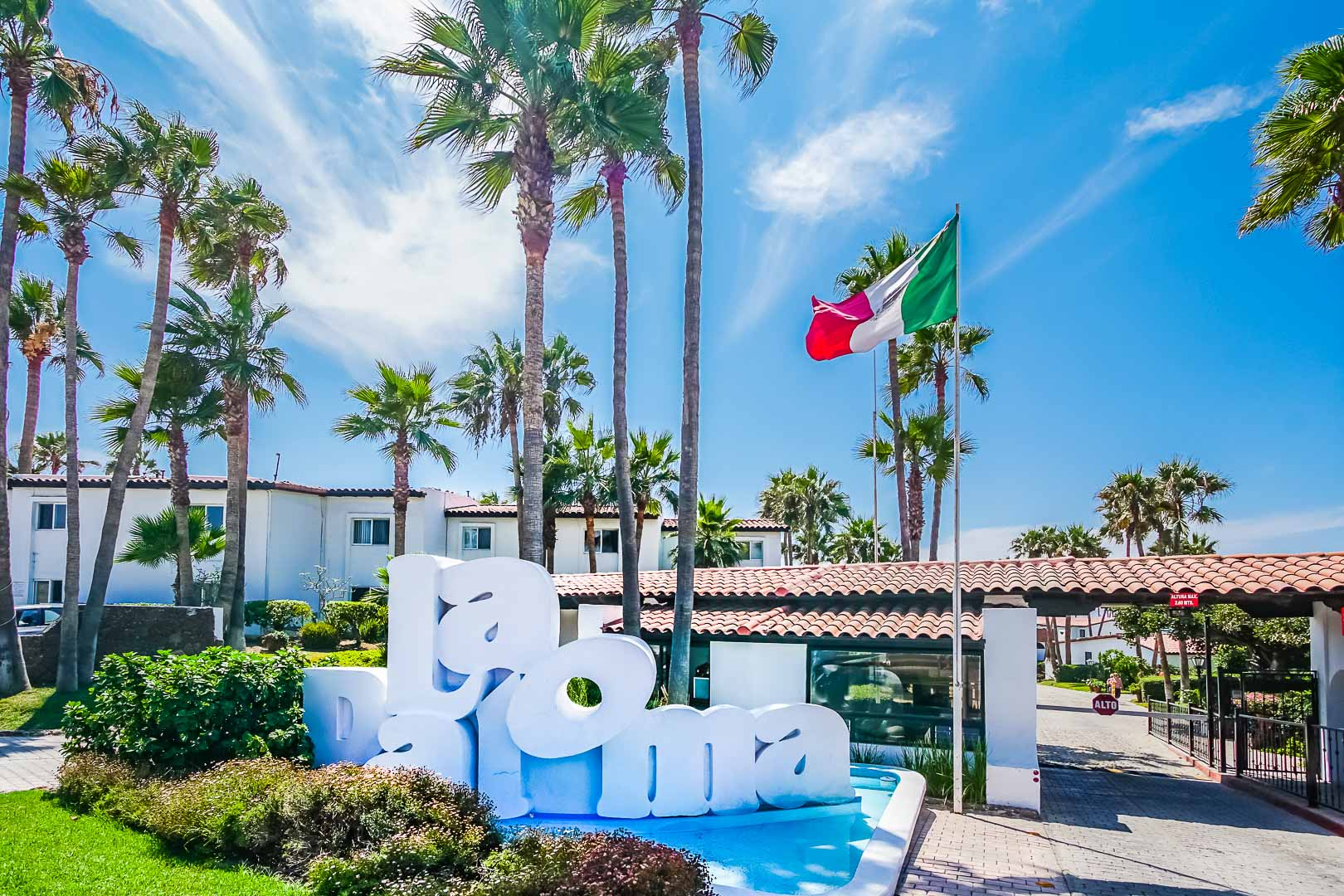 A vibrant resort signage at VRI's La Paloma in Rosarito, Mexico.
