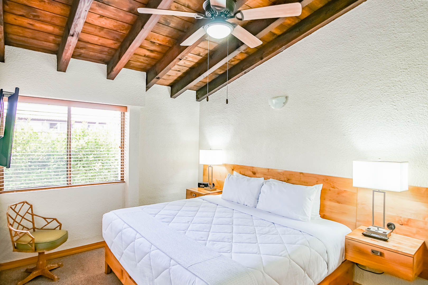 A spacious bedroom at VRI's La Paloma in Rosarito, Mexico.