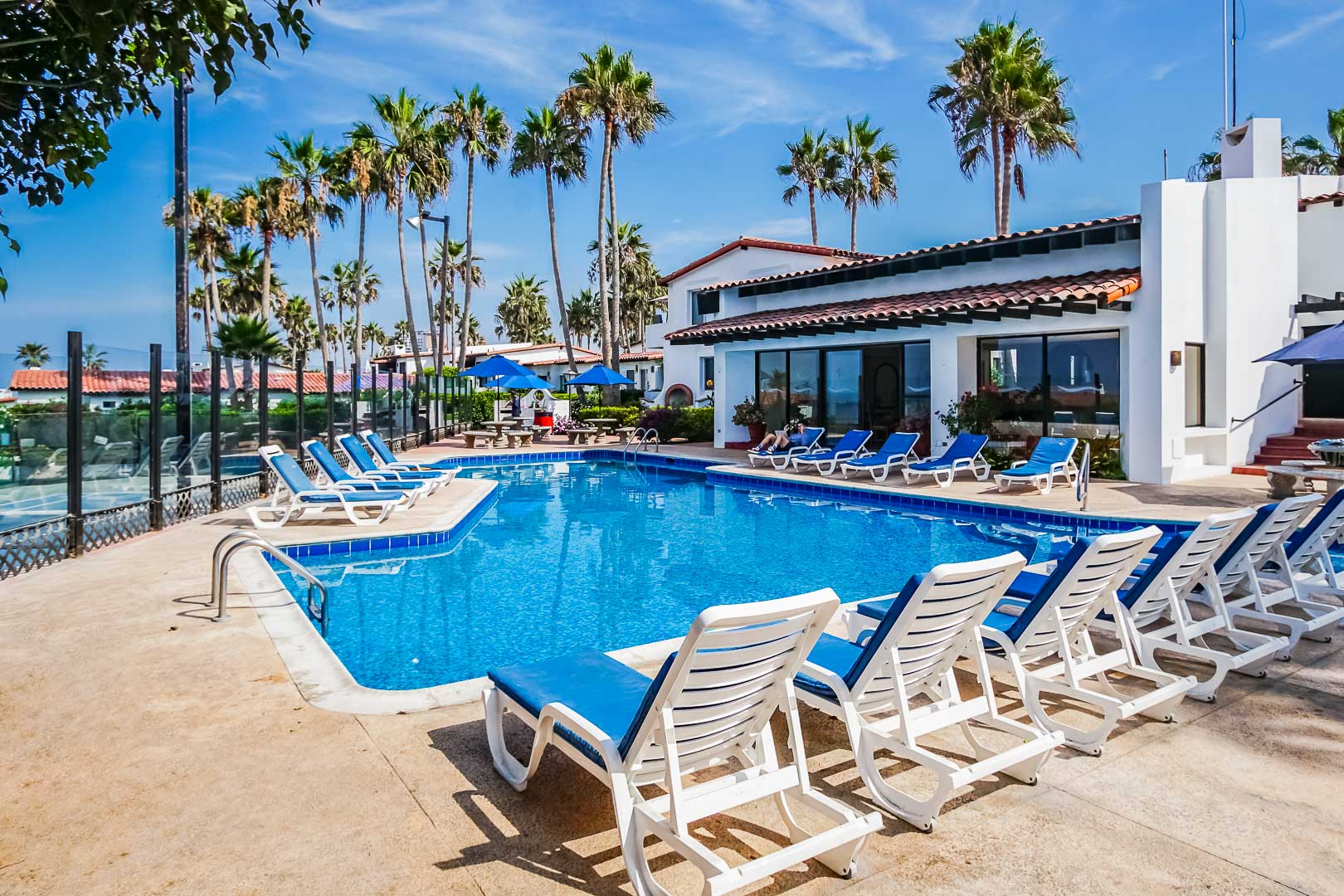 A crisp outdoor swimming pool at VRI's La Paloma in Rosarito, Mexico.