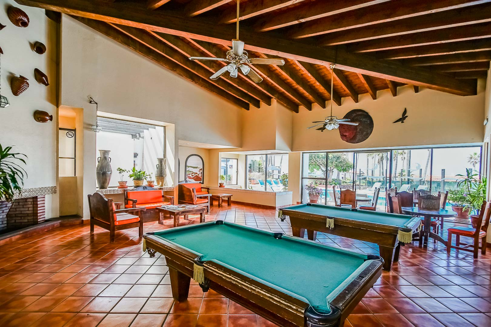 Pool tables available at VRI's La Paloma in Rosarito, Mexico.