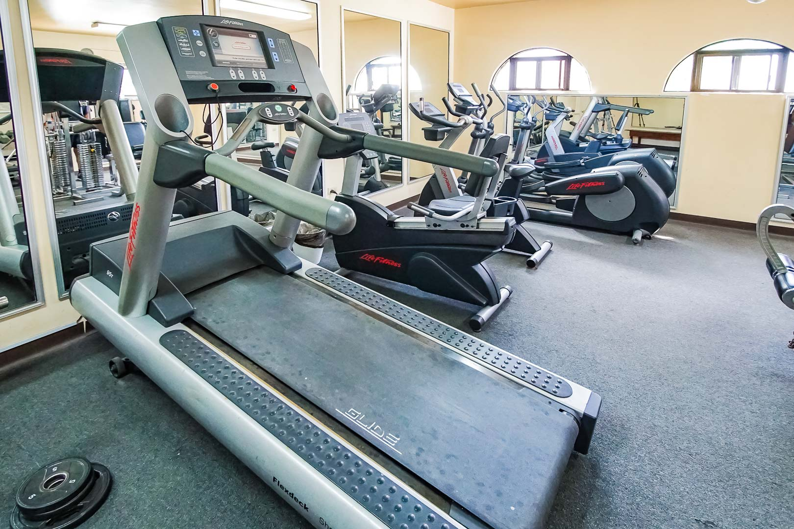 A fully equipped exercise room at VRI's La Paloma in Rosarito, Mexico.