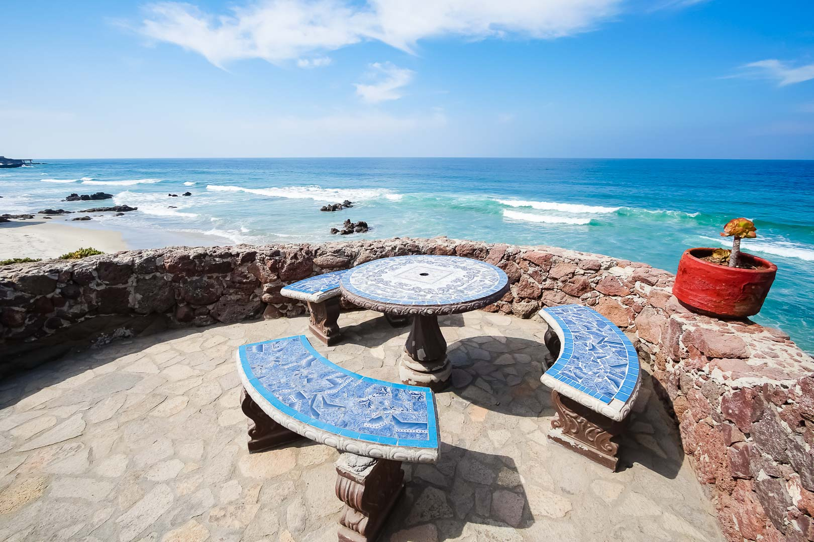 A peaceful outside table facing the beach at VRI's La Paloma in Rosarito, Mexico.