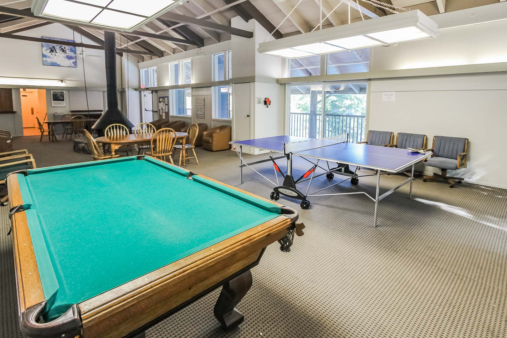 Game room for families to enjoy at VRI's Lake Arrowhead Chalets in California.