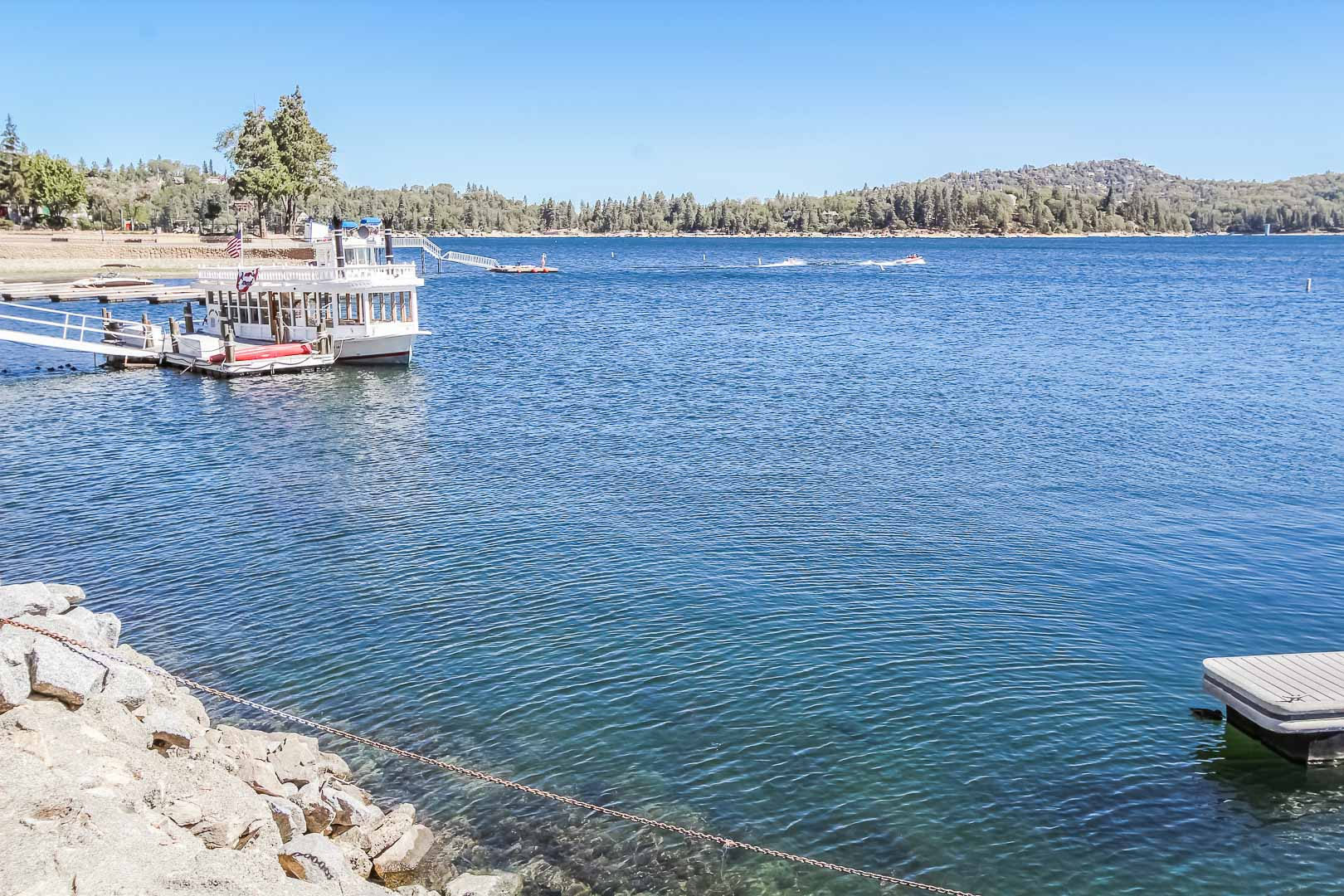 A breathtaking view of the lake at VRI's Lake Arrowhead Chalets in California.