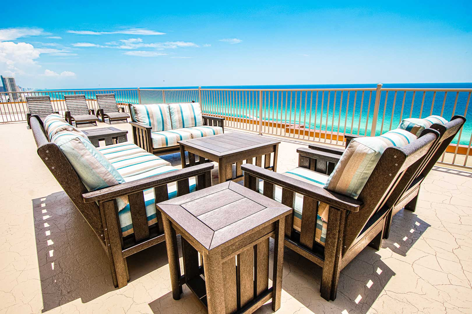 A relaxing view of the beach at VRI's Landmark Holiday Beach Resort in Panama City, Florida.