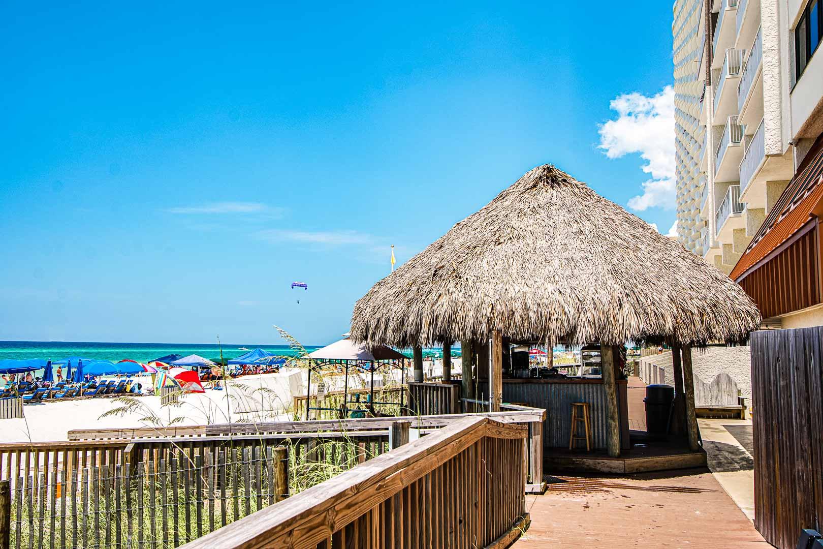 A view of the beach from VRI's Landmark Holiday Beach Resort in Panama City, Florida.