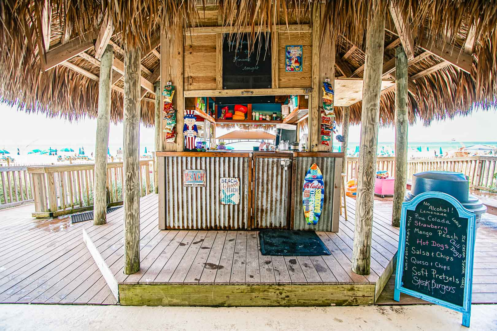 The onsite restaurant at VRI's Landmark Holiday Beach Resort in Panama City, Florida.