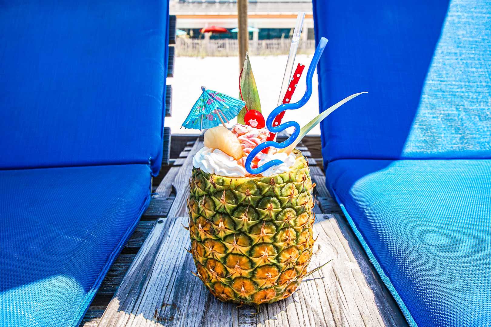 Refreshing Pina colada drinks at VRI's Landmark Holiday Beach Resort in Panama City, Florida.