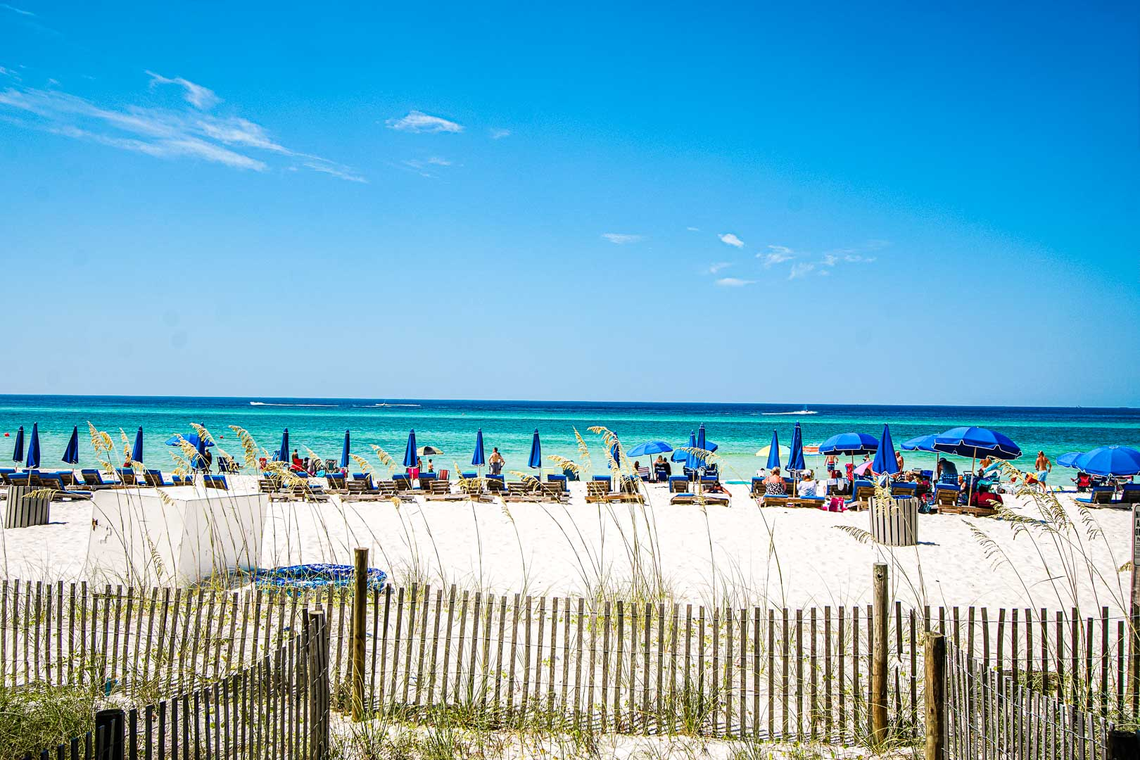 A scenic view of the beach from VRI's Landmark Holiday Beach Resort in Panama City, Florida.