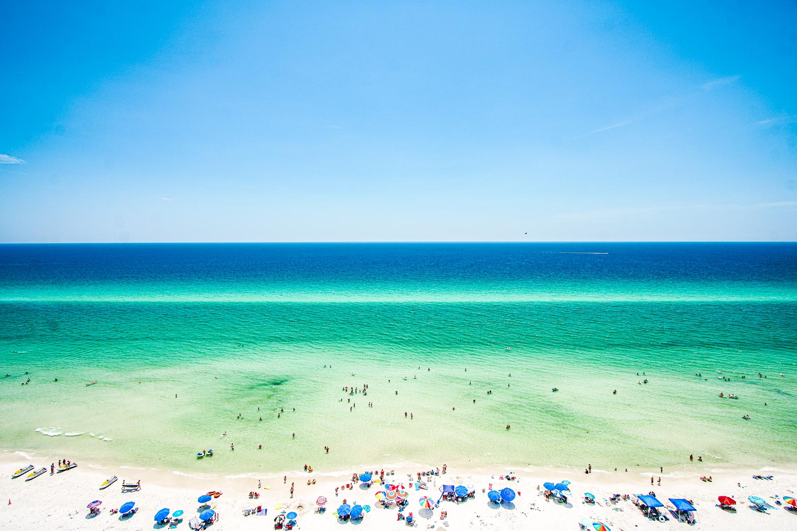 A beautiful view of the beach at VRI's Landmark Holiday Beach Resort in Panama City, Florida.
