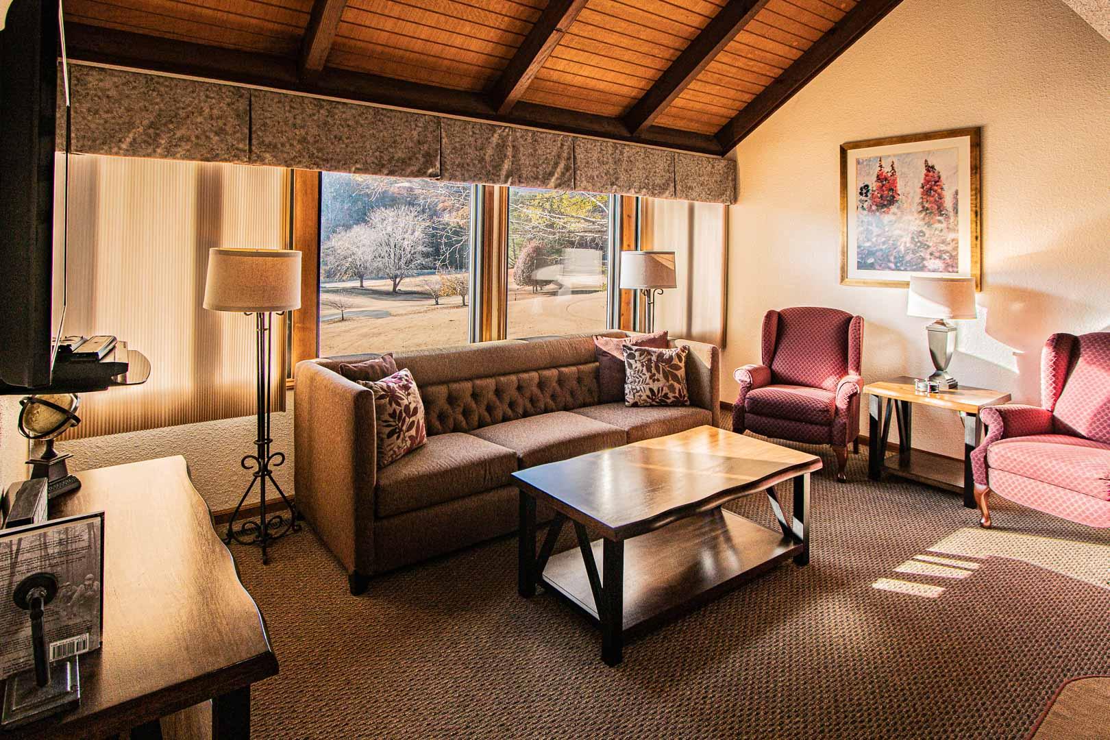 A cozy living room area at VRI's Mountain Loft Resort in North Carolina.
