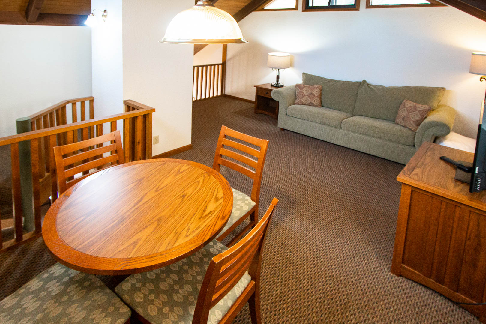 A cozy dining table at VRI's Mountain Loft Resort in North Carolina.