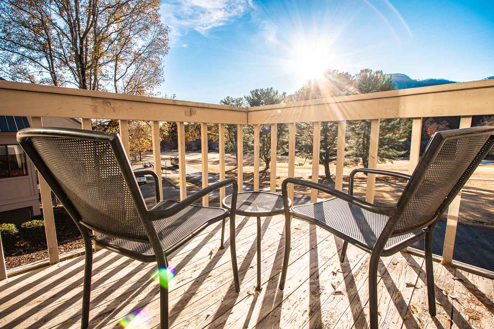 A relaxing view from the balcony at VRI's Mountain Loft Resort in North Carolina.
