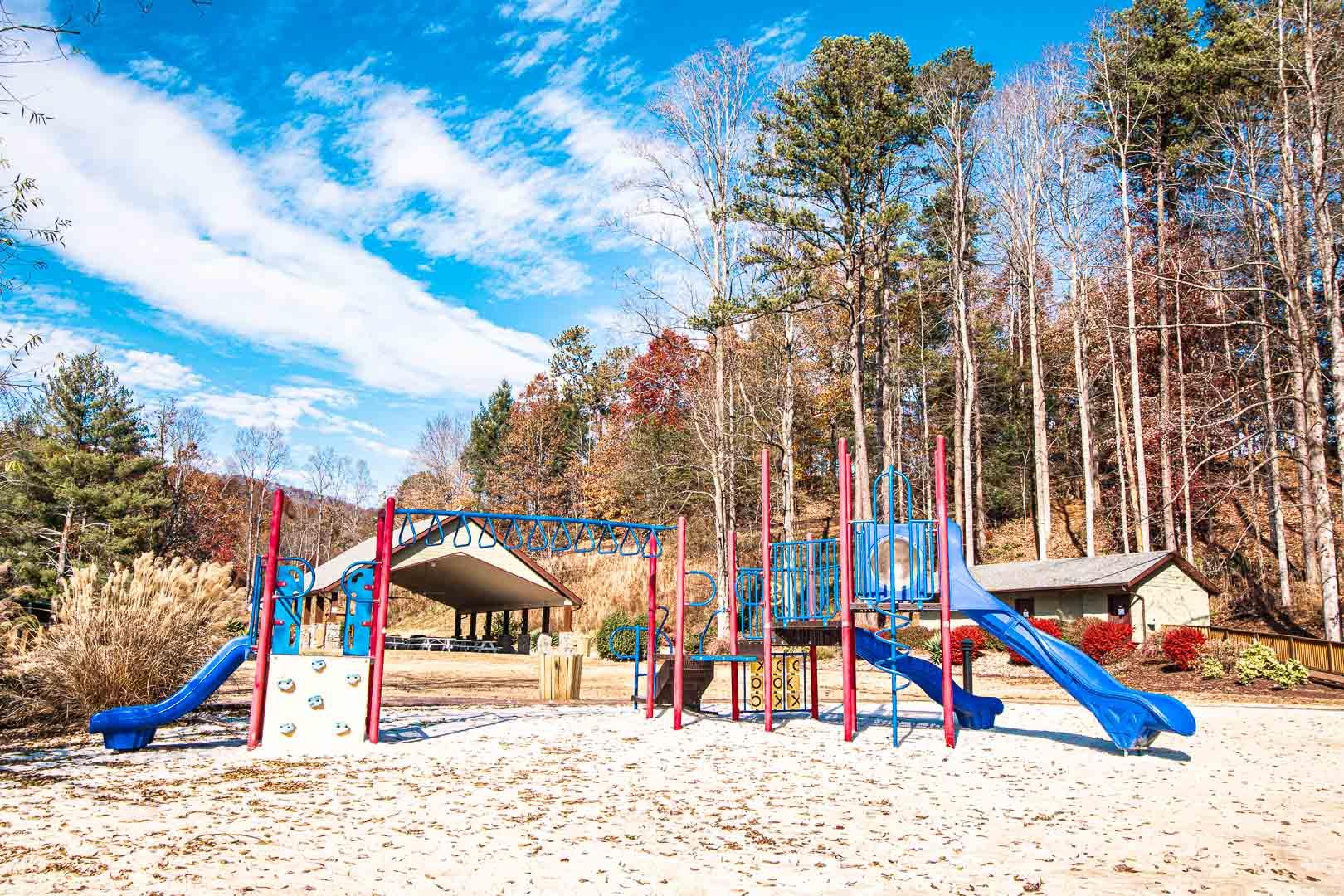 A colorful children's playground at VRI's Mountain Loft Resort in North Carolina.