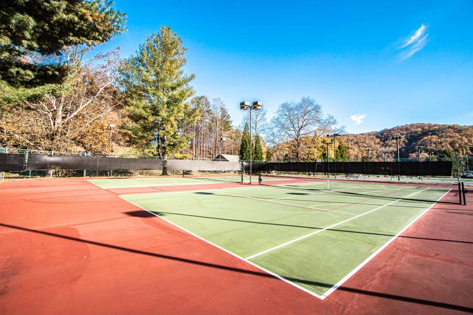 An outside tennis court at VRI's Mountain Loft Resort in North Carolina.
