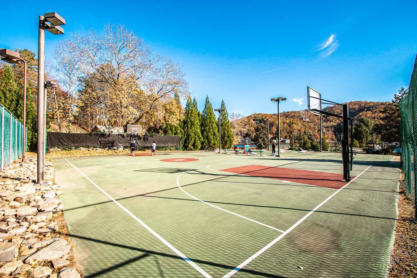 An outside basketball court at VRI's Mountain Loft Resort in North Carolina.