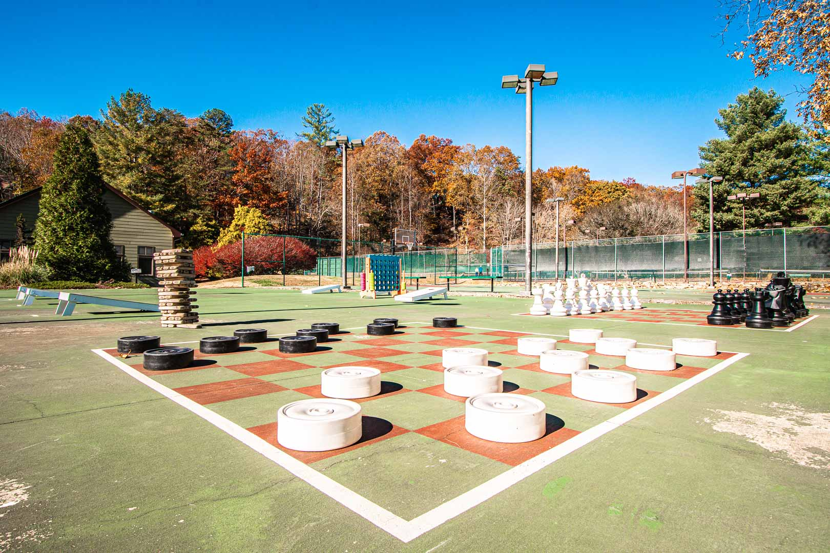 A large outdoor chess table at VRI's Mountain Loft Resort in North Carolina.
