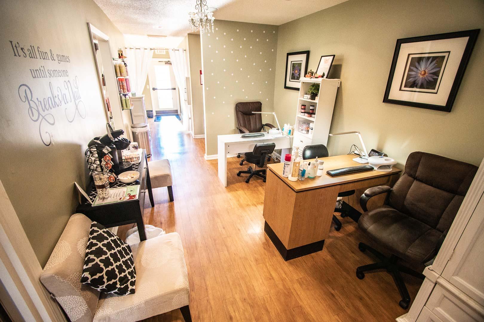 Relaxing nail salons at VRI's Mountain Loft Resort in North Carolina.