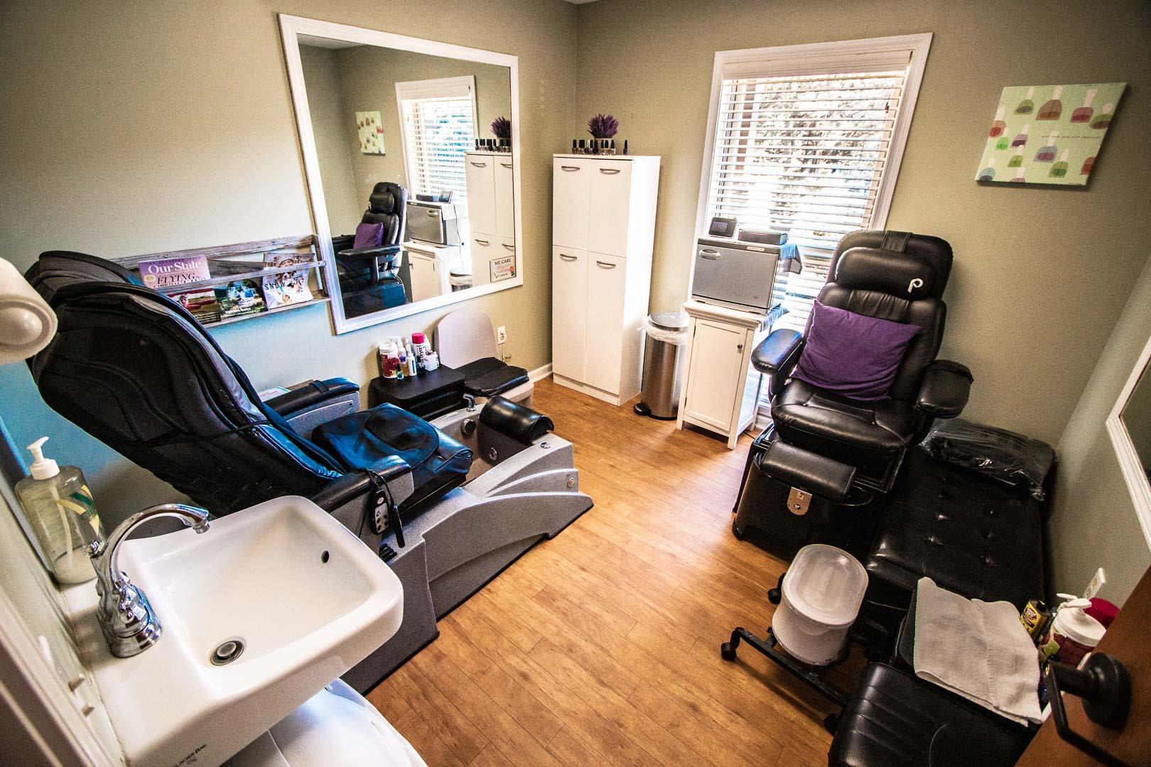 Nail salons available at VRI's Mountain Loft Resort in North Carolina.