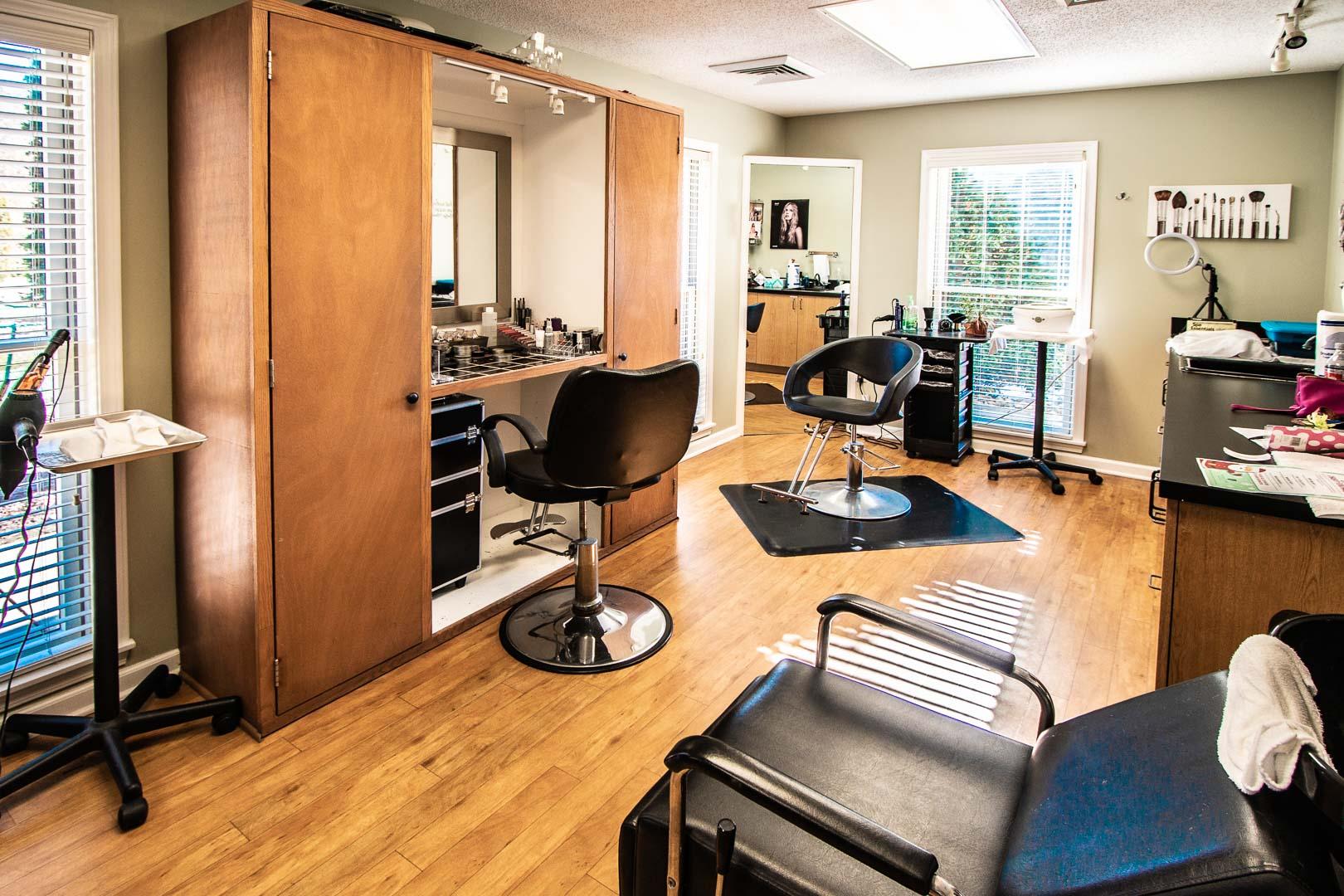 Hair salons at VRI's Mountain Loft Resort in North Carolina.