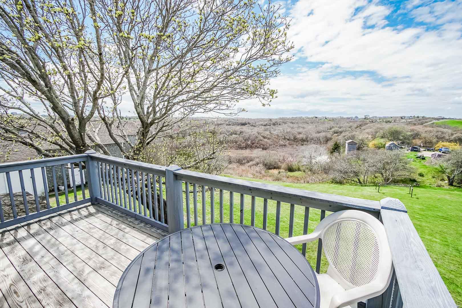 A scenic patio deck at VRI's Neptune House Resort in Rhode Island.