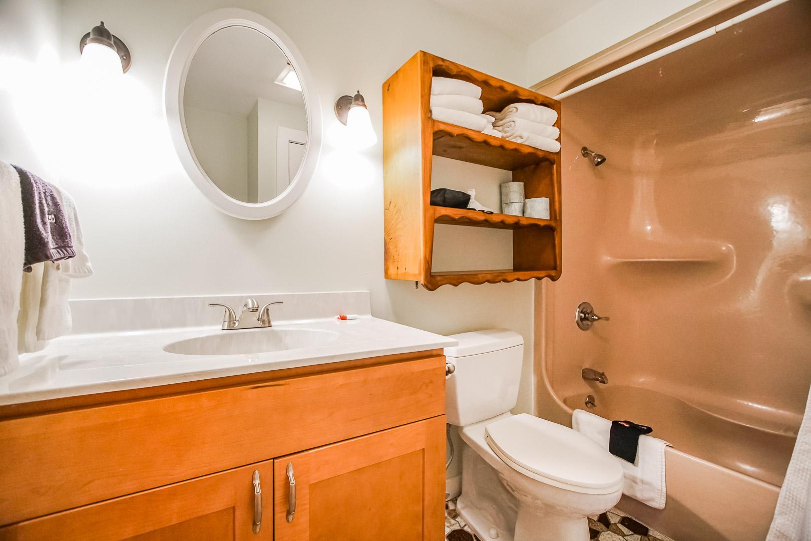 A clean bathroom at VRI's Neptune House Resort in Rhode Island.