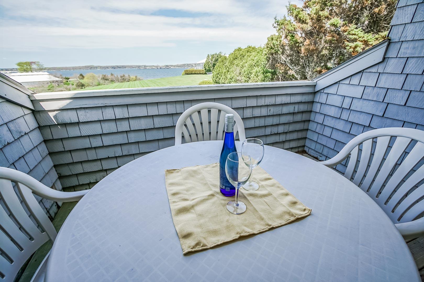 A scenic balcony view at VRI's Oceancliff Resort in Rhode Island.