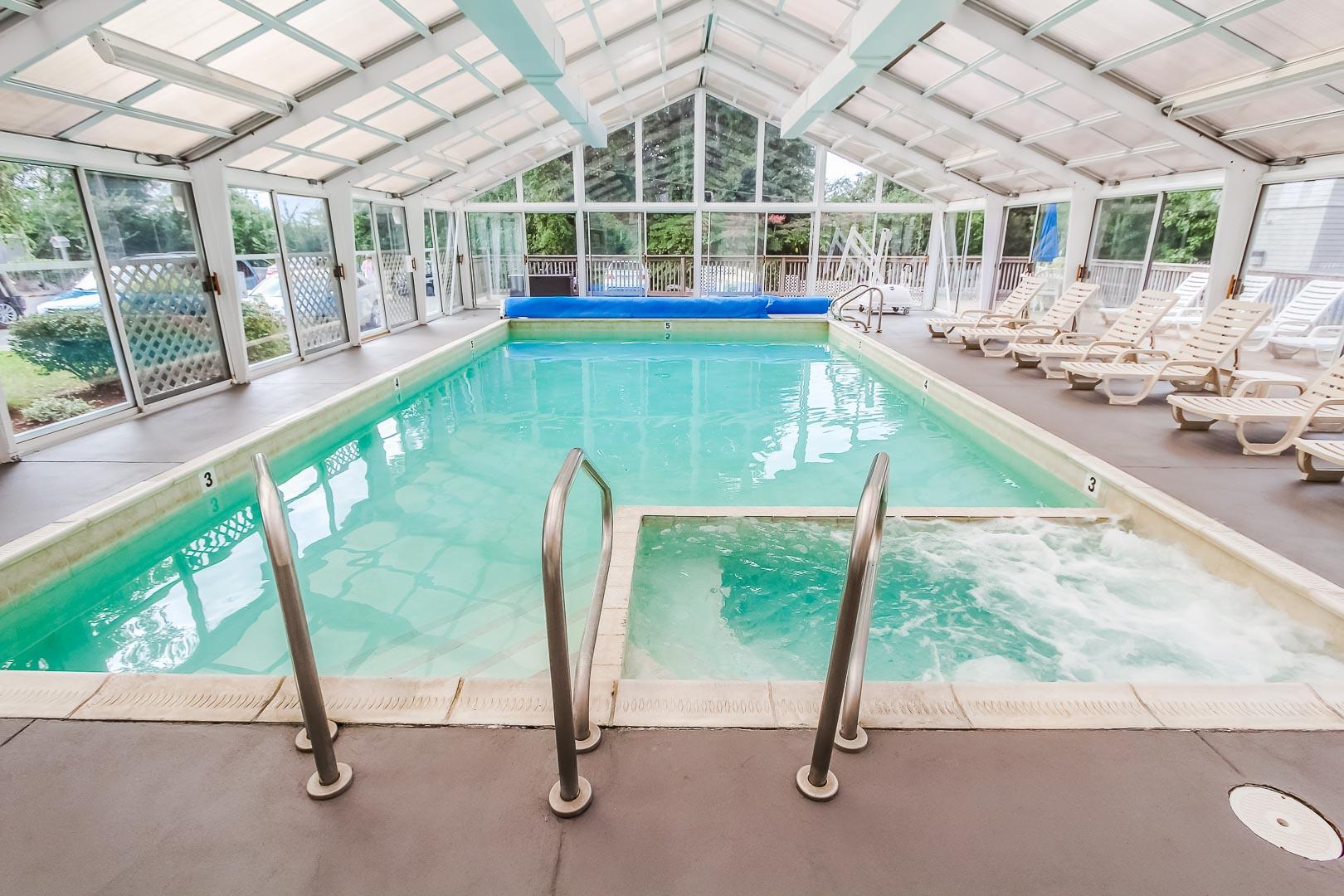 A soothing indoor pool at VRI's Oceancliff Resort in Rhode Island.