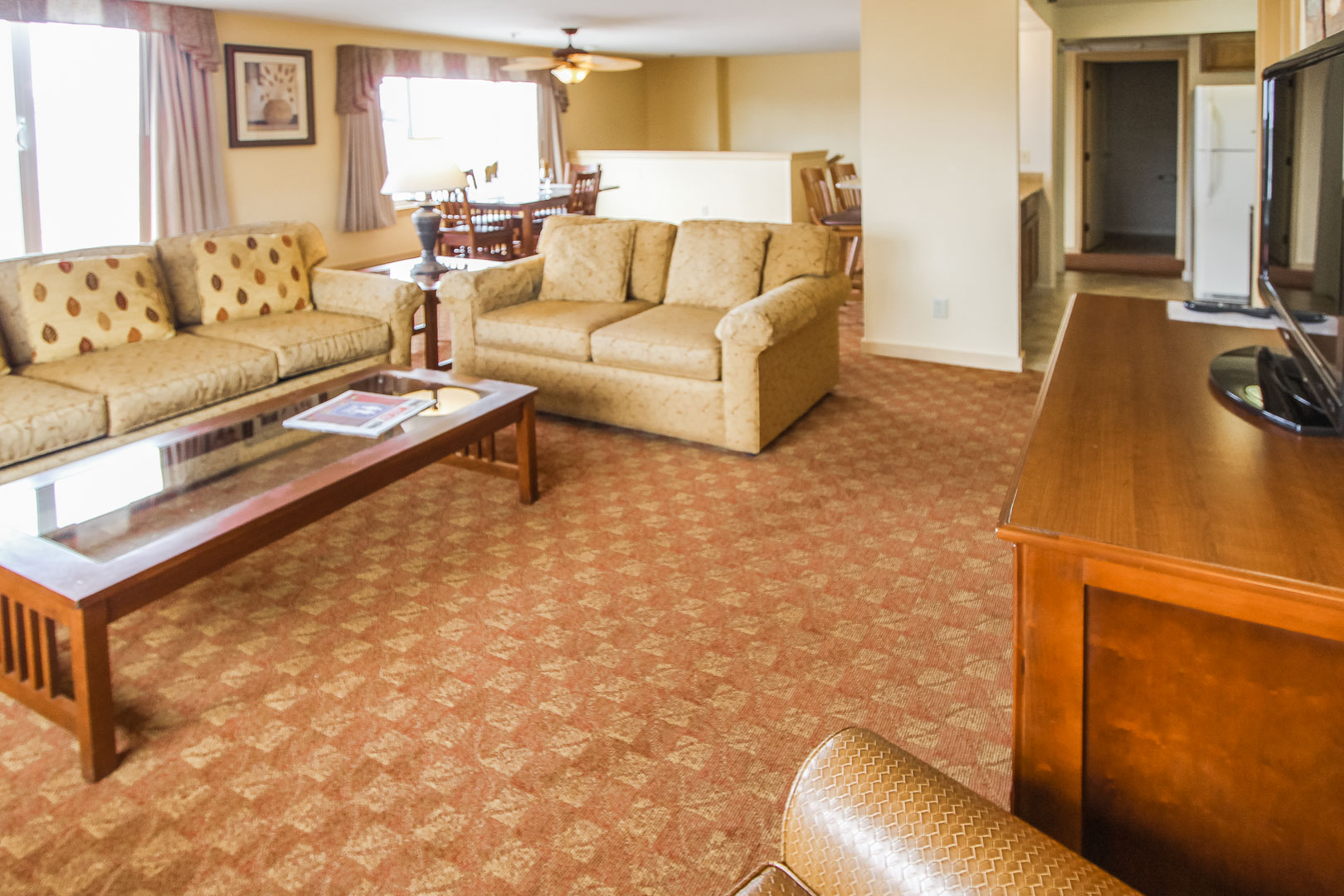 An upgraded living room area at VRI's Pacific Grove Plaza in California.