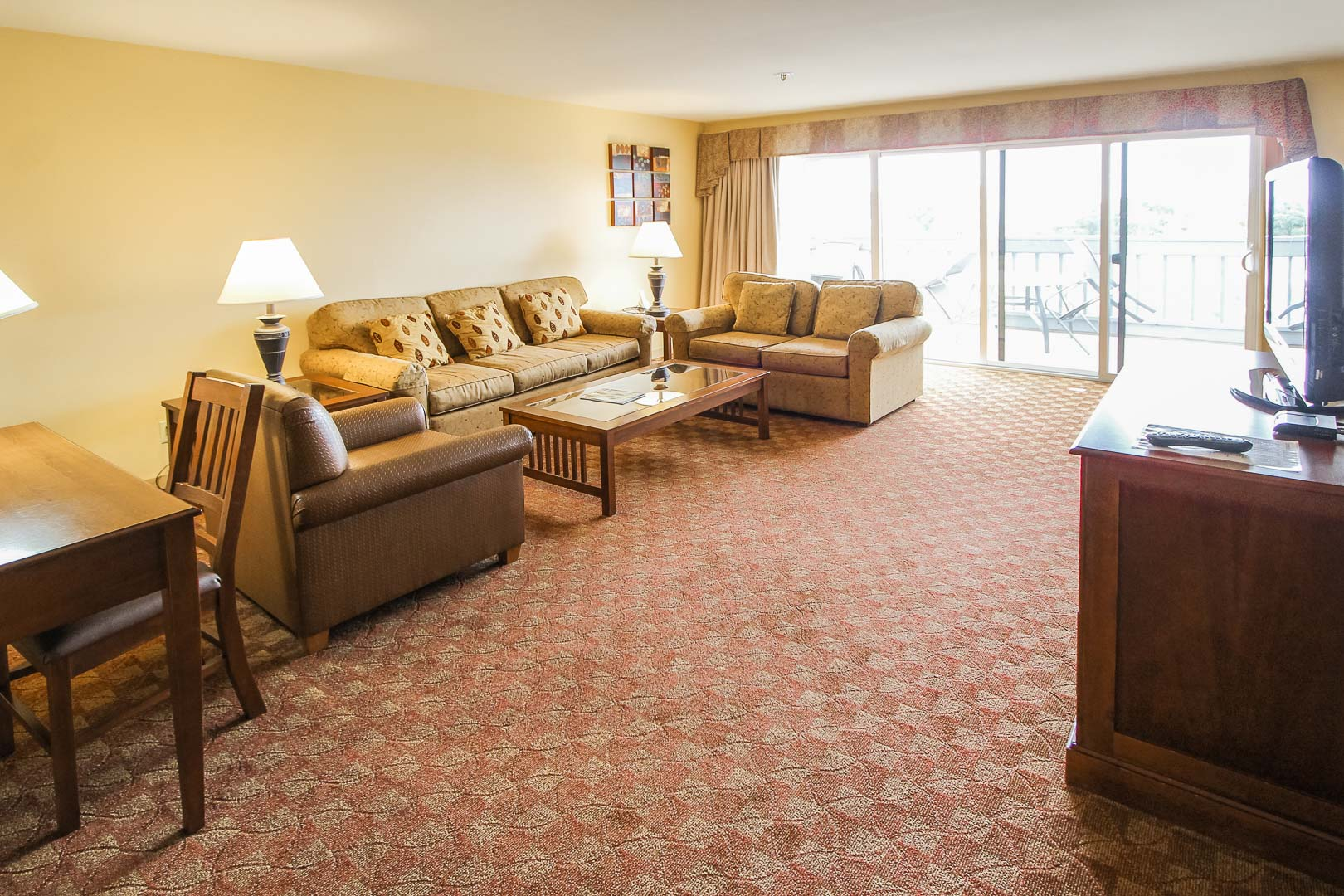An expansive view of the living area at VRI's Pacific Grove Plaza in California.