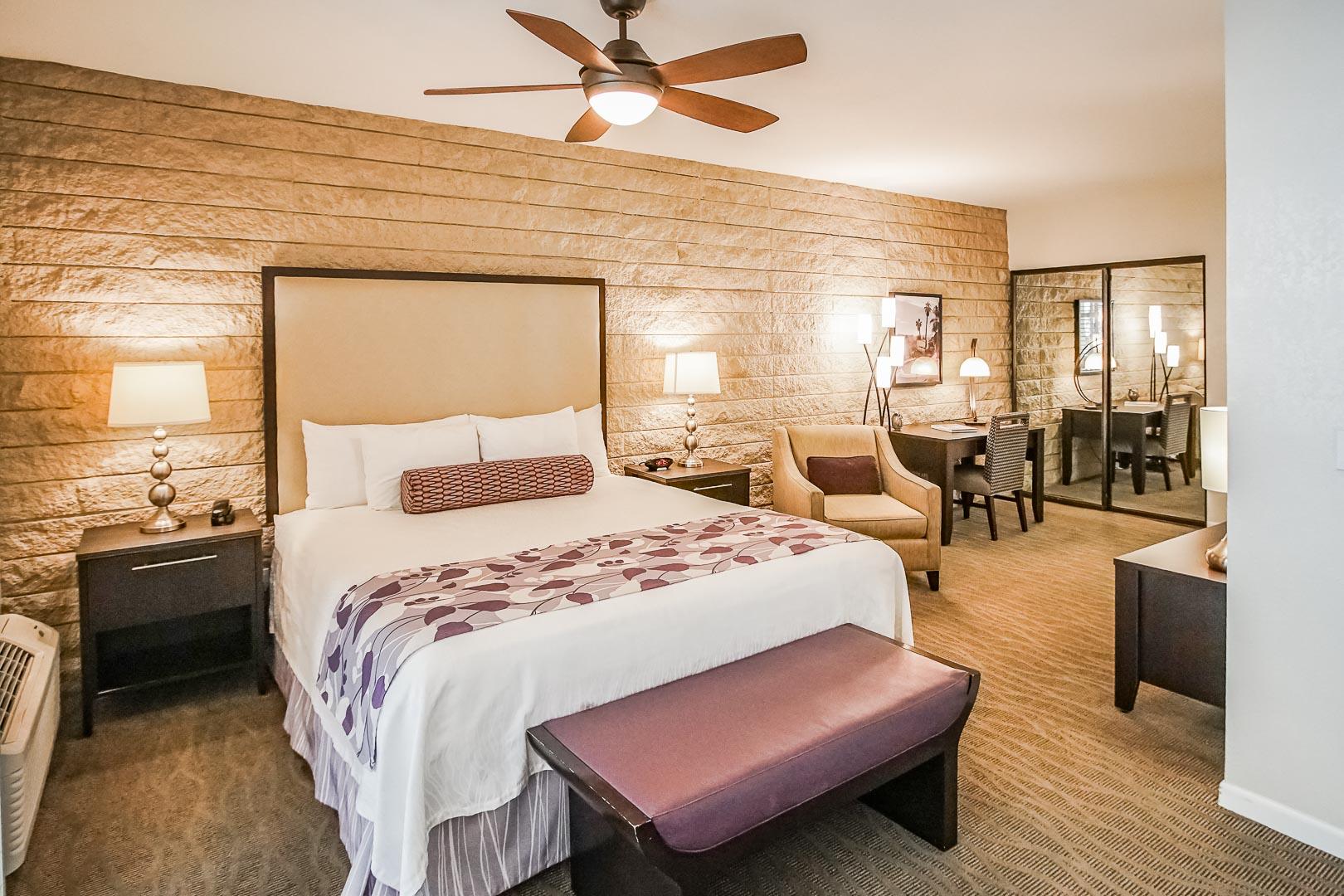 A modernized master bedroom at VRI's Palm Springs Tennis Club in California.
