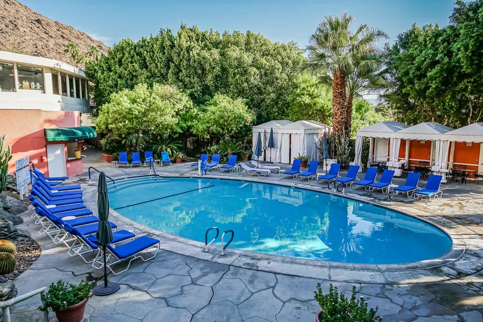 A crisp outdoor swimming pool at VRI's Palm Springs Tennis Club in California.